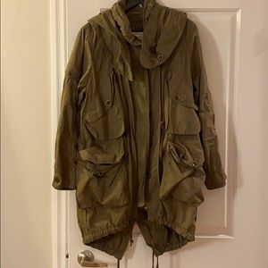 All Saints army green jacket w shearling, size 6